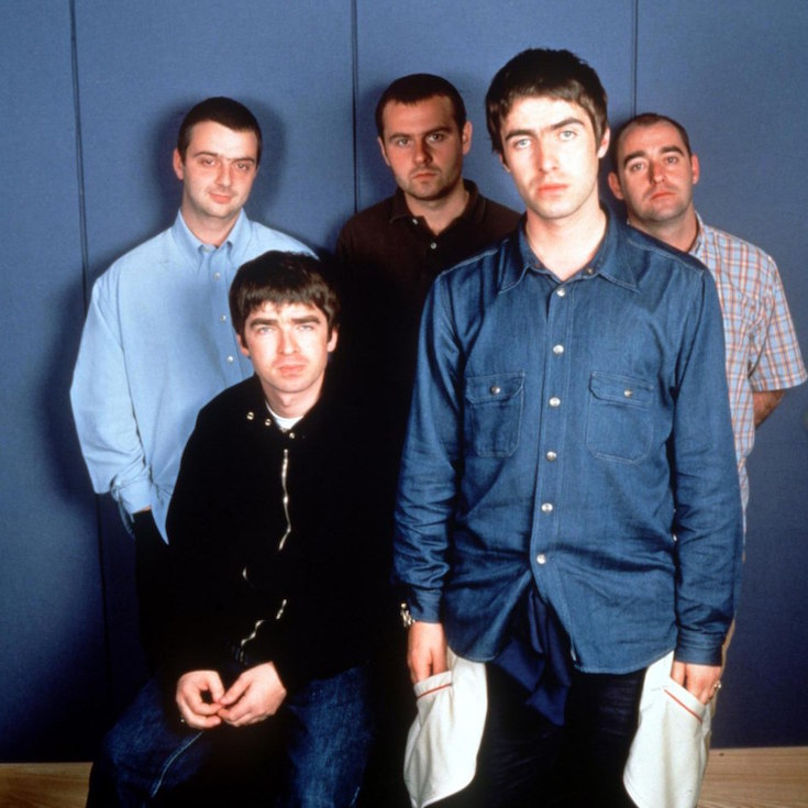 DATE TAKEN: 1997--- The rock band Oasis :   Back row: Paul McGuigan, left, Alan White, Paul Arthurs.  Front row:  Noel Gallagher, left, Liam Gallagher. ORG XMIT: UT50162